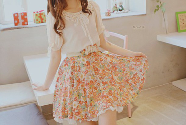 dress cute flowers flower pattern kfashion girl flower patterend dress fashion korean fashion
