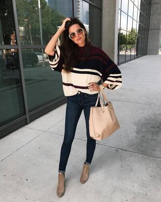 sweater tumblr knit knitwear denim jeans blue jeans bag nude bag skinny jeans boots ankle boots sunglasses