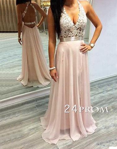 Pink A-line Lace Chiffon Long Prom Dress,Formal Dresses - 24prom