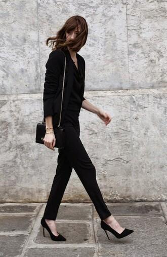 shoes black blazer black handbag black trousers black stilettos blogger