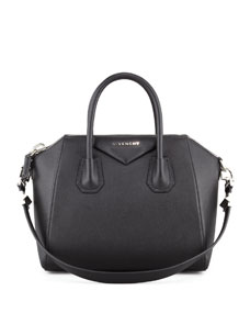 Givenchy Antigona Small Sugar Goatskin Satchel Bag, Black - Bergdorf Goodman