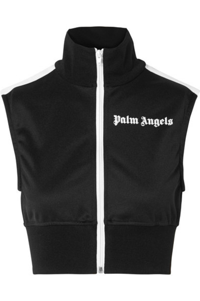 Palm Angels top cropped black satin