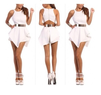 romper peplum belt strappy high neck jumpsuit girl night out smart cut-out backless