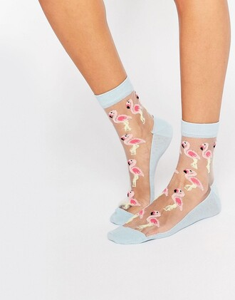 socks flamingo cute socks sheer