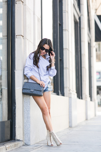 wendy's lookbook blogger peep toe heels blue shirt