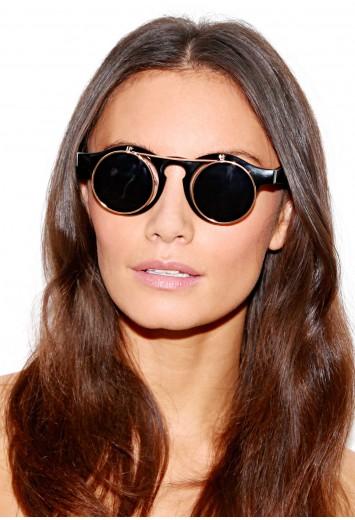 Gaga circle 'flip up' black sunglasses