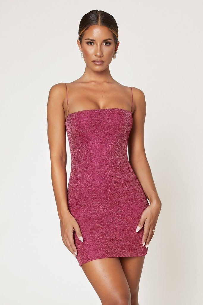 Mia Thin Strap Shimmer Dress - Candy Pink