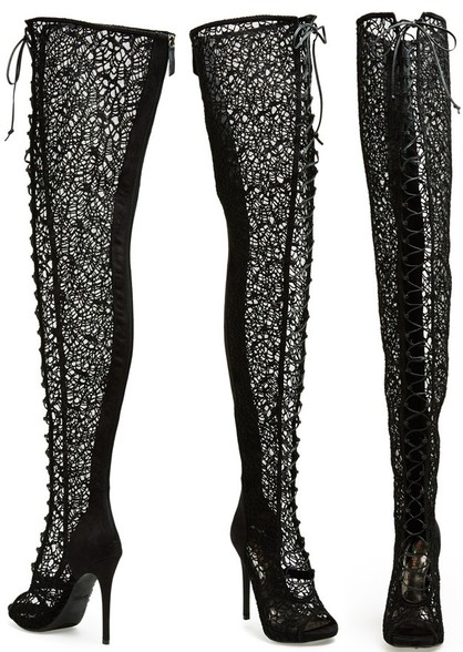 Lace Inset Thigh-High Boot with Corset Laces