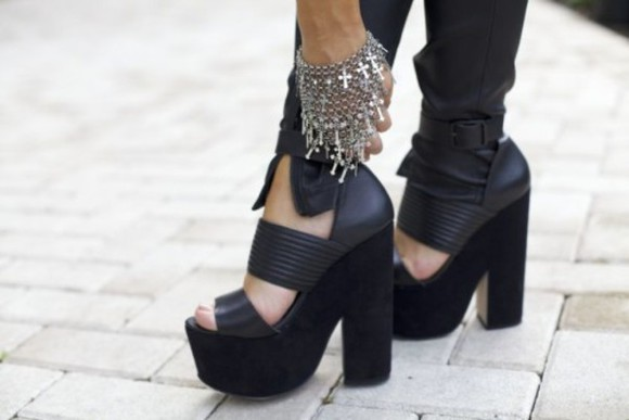 wrap black shoes platfrom leather sandals chunky sole block heels allblackeverything heels