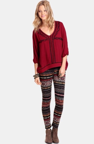 pants printed leggings multi-colored