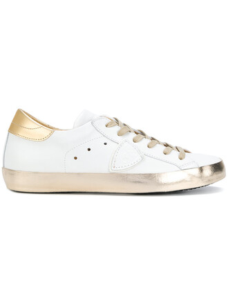 women sneakers gold leather white cotton shoes
