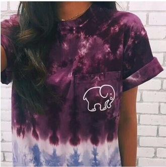 t-shirt elephant logo purple blue shirt