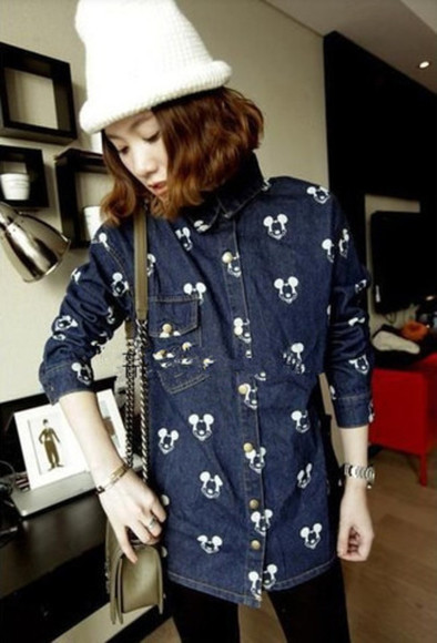 button up shirt mickey mouse