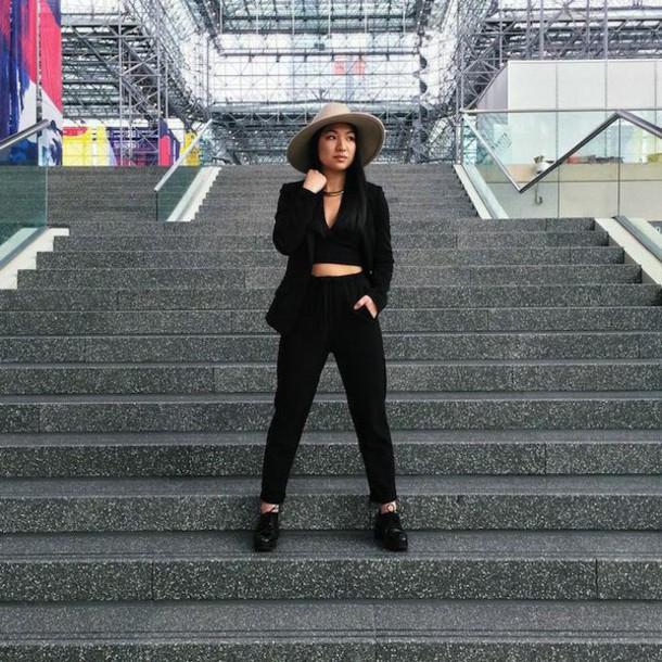 looks by lau blogger hat black crop top blazer black pants top jacket pants shoes