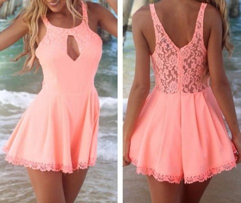 Outletpad | Fashion cut out lace playsuit Jumpsuits Pink | Online Store Powered by Storenvy