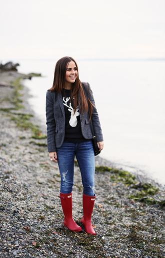 dress corilynn blogger deer red shoes wellies