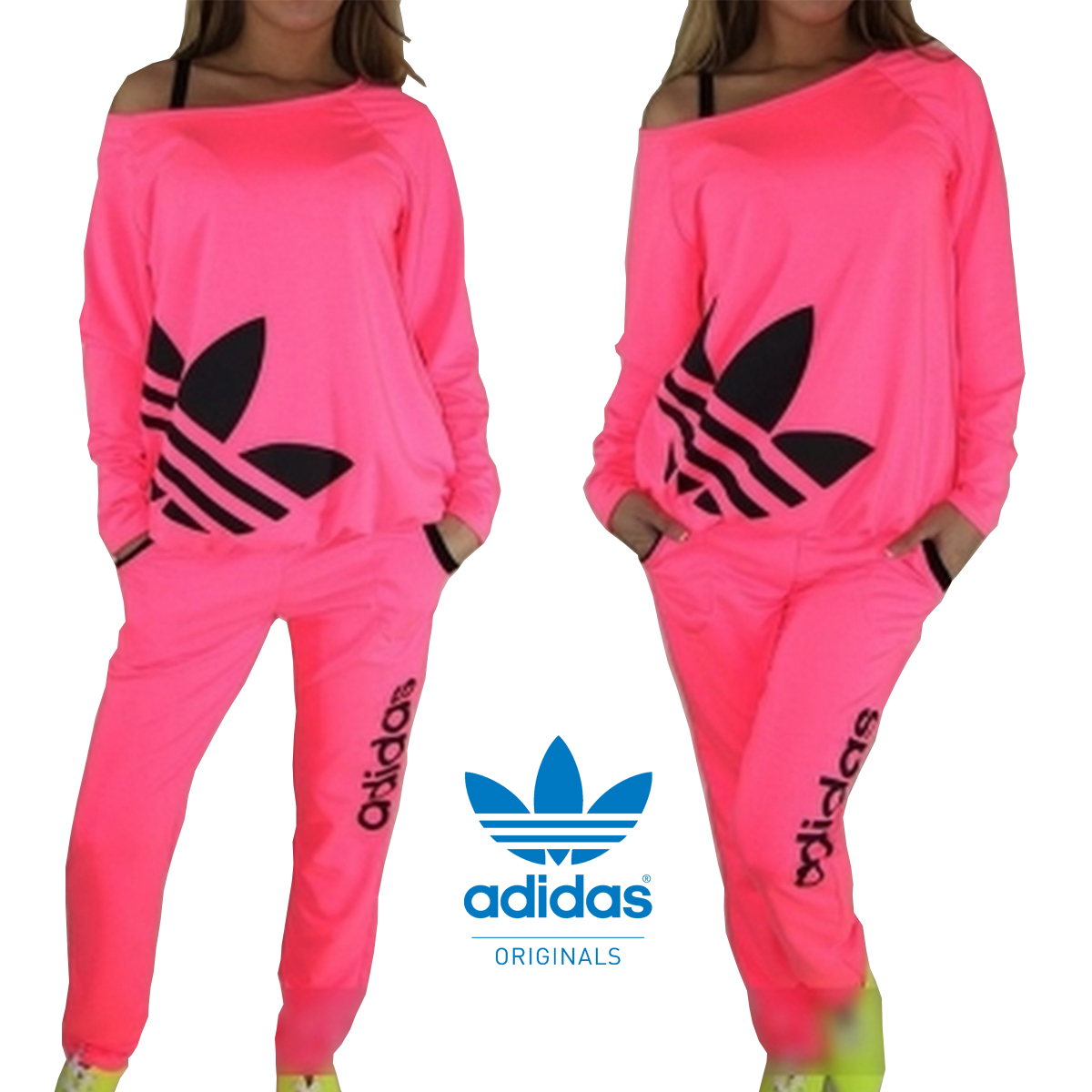 Adidas neon women sports suit track suit sleeping suit set pnk from sporty on storenvy