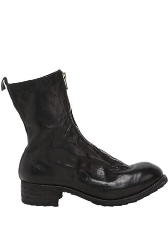 zip boots leather boots leather black shoes