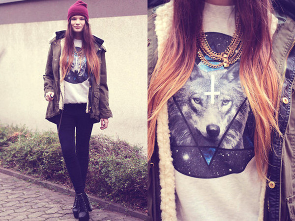 sweater hipster wolf galaxy print cross swag white triangle hipster swag swag sweatshirt tank top coat winter coat brown cute t-shirt