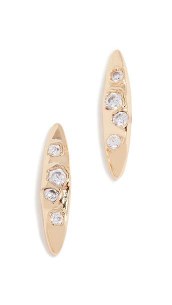 Gorjana Collette Marquise Stud Earrings in gold / white