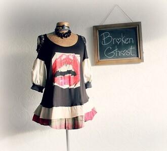 dress lips teeth scoop neck ruffle skirt plaid black white red off the shoulder long sleeves mini dress
