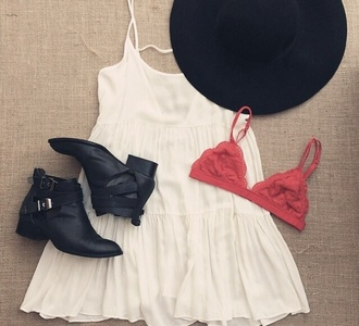 dress summer dress white white dress festival dress music festival cute dress beige dress swimwear hat shoes