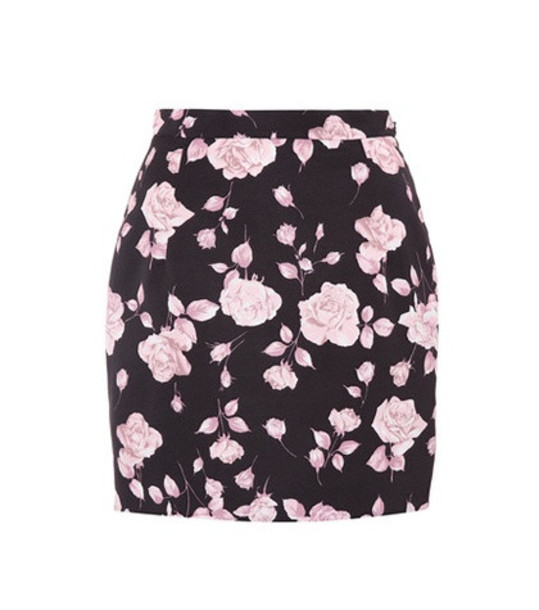 Alessandra Rich Floral-printed faille miniskirt in black