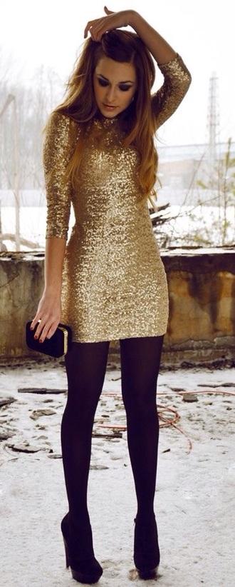 new year's eve sequin dress gold dress prom dress mini dress party dress night clubwear classy little dress brillant diamants high heels party outfits long sleeve dress