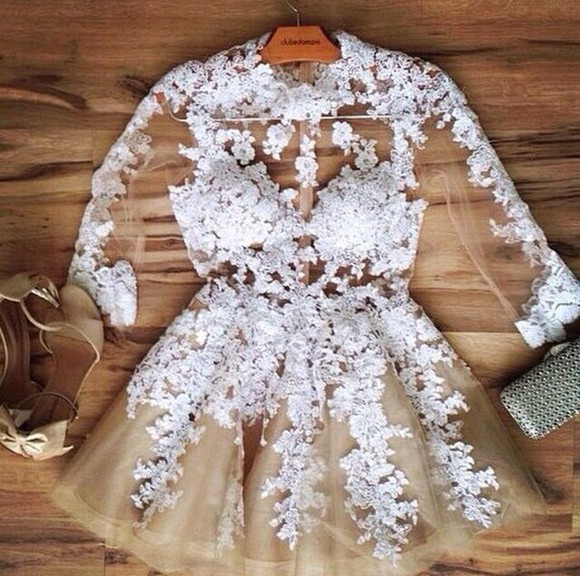 floral dress lace dress white sheer