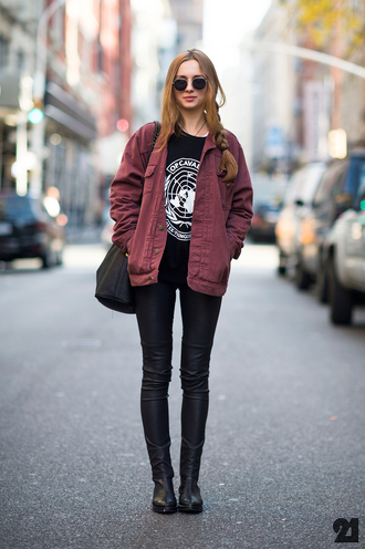 united nations burgundy jacket round sunglasses leather pants shirt coat streetstyle streetwear streetlook street clothes leather jeans ankle boots on point clothing grunge jacket grunge jacket fall outfits red bomber jacket bordeau bordeau coat sunglasses burgundy denim jacket