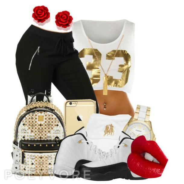 jeans joggers crop tops jordans mcm bag black sweatpants women make-up shirt