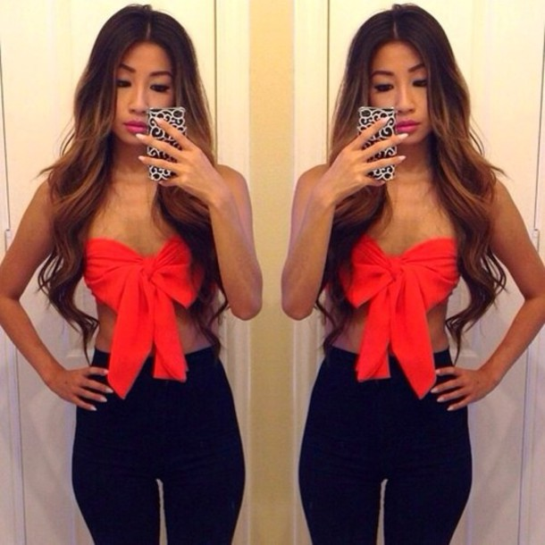 e68d14a595377b blouse red bow red bow red bow crop top