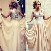 dress,prom,elegant,fashion,style,formal,gown,vanessawu,sparkly dress,prom dress,long prom dress,beige dress,blue prom dress,prom beauty