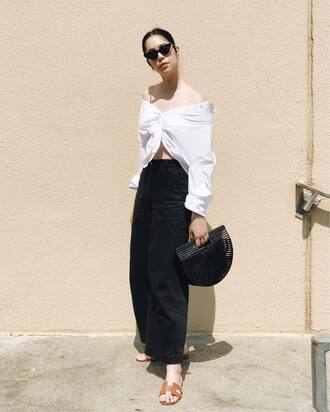 pants tumblr black pants culottes shirt white shirt off the shoulder off the shoulder top sandals flat sandals sunglasses cat eye bag black bag shoes