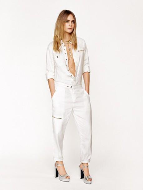 jumpsuit cara delevingne white