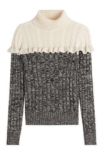 turtleneck knit wool grey sweater