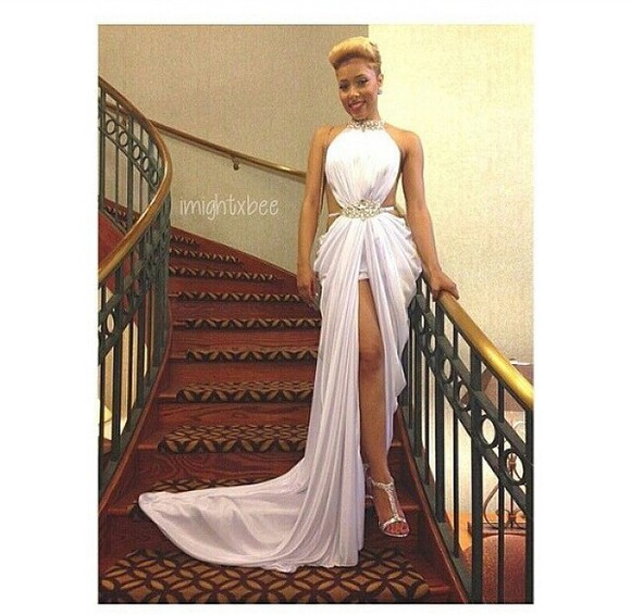 slit skirt elegant pretty dress gorgeous occasion wear event dress prom dress homecoming dress white silver gold cut outs on the back