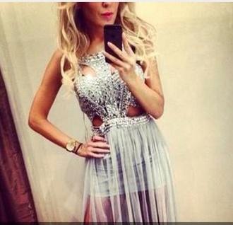 dress prom dress sexy dress cut-out dress maxi dress embellished slit backless dress beige silver