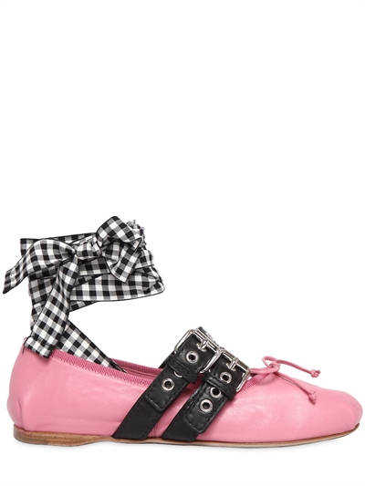 MIU MIU, 10mm buckled leather ballerina flats, Pink, Luisaviaroma