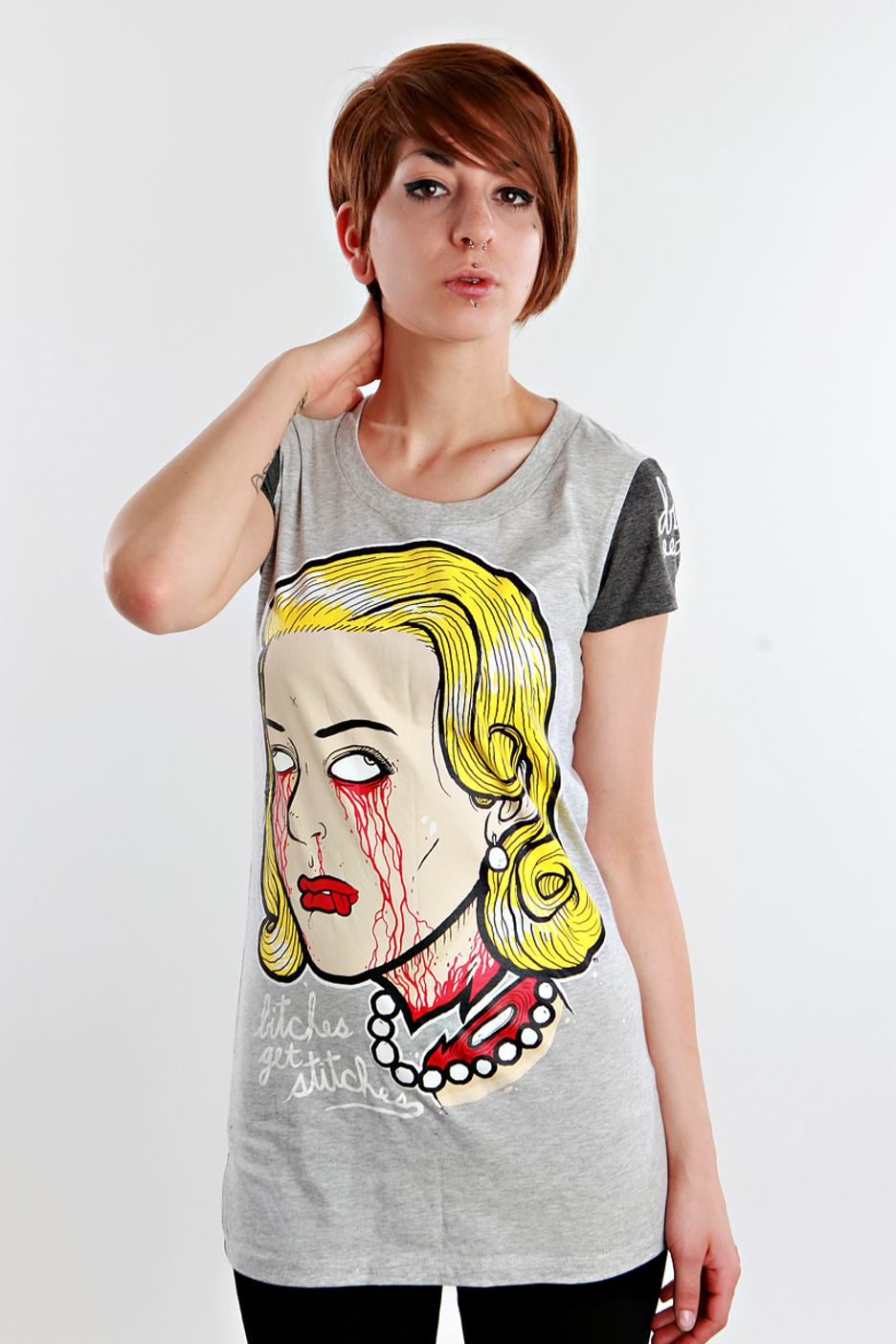 Drop Dead - Bitches Get Stitches Grey - Girly - Streetwear Online Shop - Online Shop - Impericon.com Worldwide