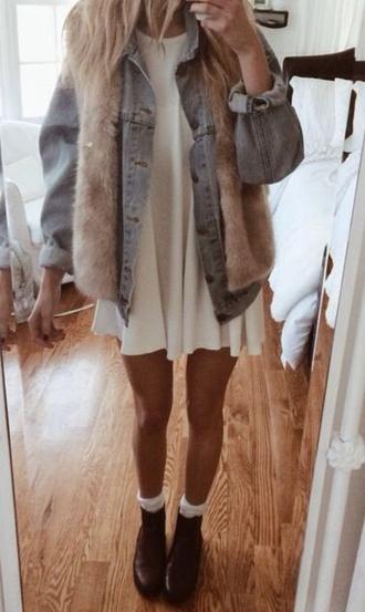 jacket denim jacket faux fur white dress 90s style vintage jacket cardigan dress