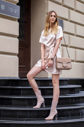 dress,tumblr,silk,silk dress,mini dress,blush,boots,transparent,ankle boots,high heels boots,bag,nude bag,all nude everything,shoes