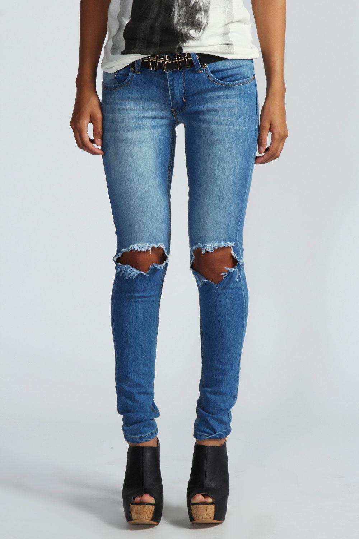 Izzie Open Knee Skinny Rigid Jeans