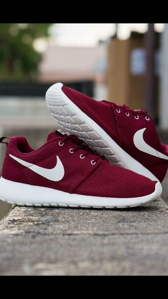shoes trainers nike trainers nike roshes dark red