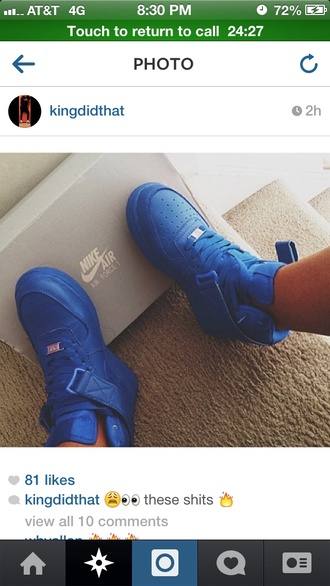 shoes blue nike air force 1 mid top high top sneakers