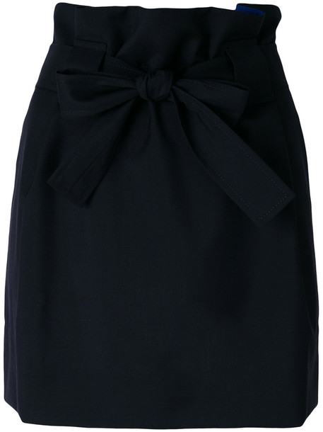 Maison Kitsuné Maison Kitsuné - front bow fastening skirt - women - Virgin Wool/Cotton - 36, Black, Virgin Wool/Cotton