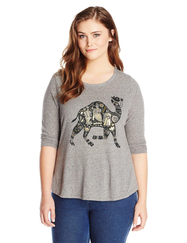 Lucky Brand Women's Plus-Size Metallic Camel Tee at Amazon ...