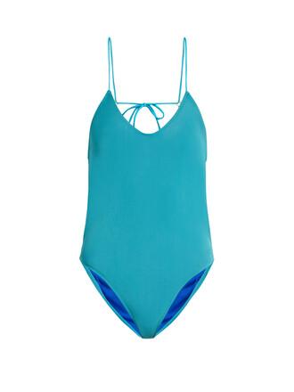 back open turquoise swimwear
