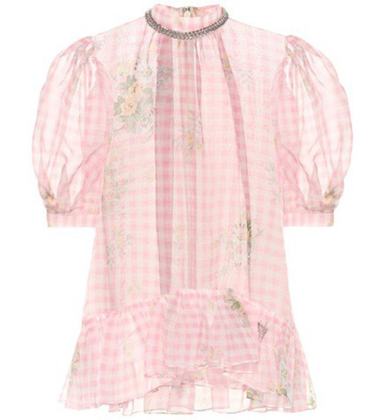 Christopher Kane Gingham silk top in pink