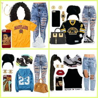 jeans acid wash jeans shirt hoodie earing lips jordans maryland mk handbags i phone bun braids weave